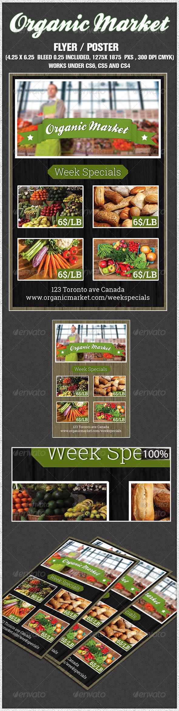 Indesign  Organic Supermarket Flyer  - Restaurant Flyers