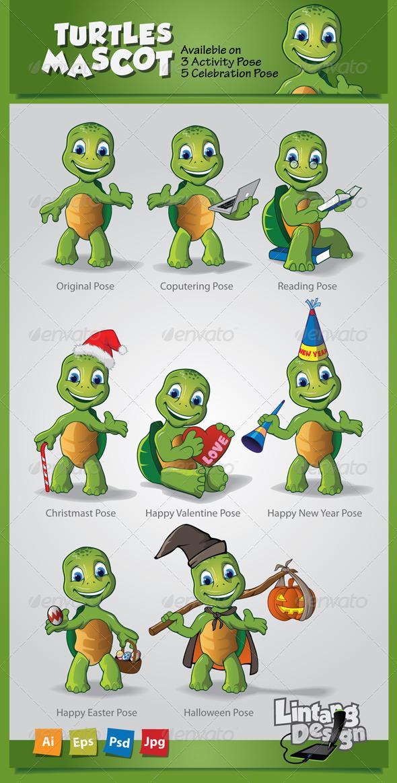 Turtle Mascot-001 - Characters Vectors