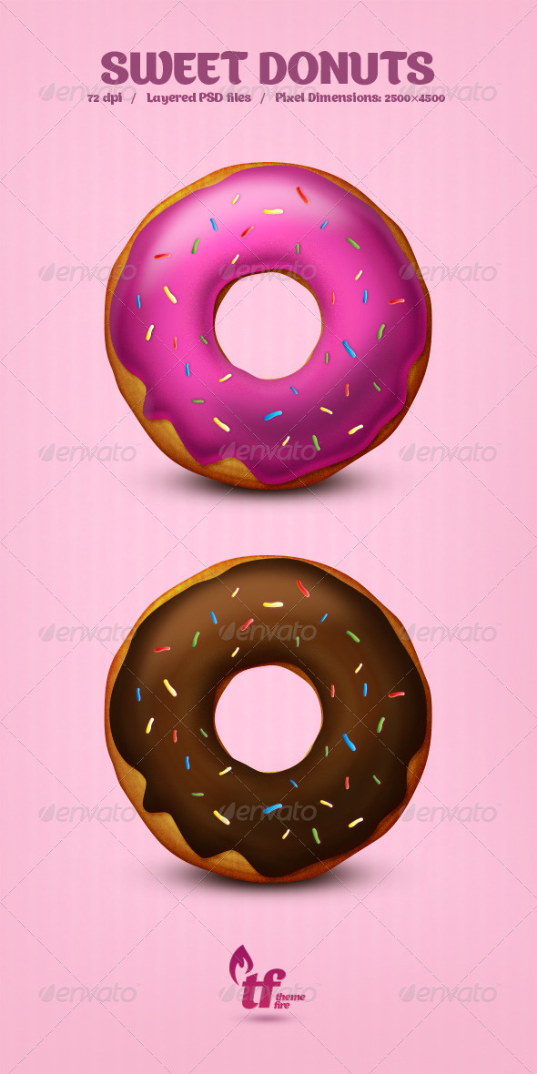 Sweet Donuts - PSD - Illustrations Graphics