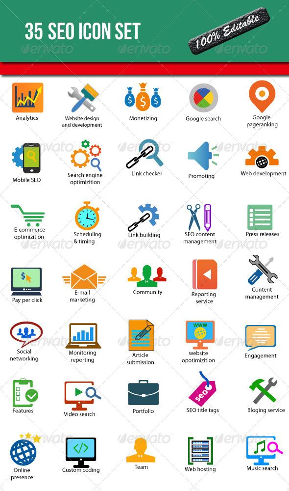 35 SEO Icon Set - Business Icons