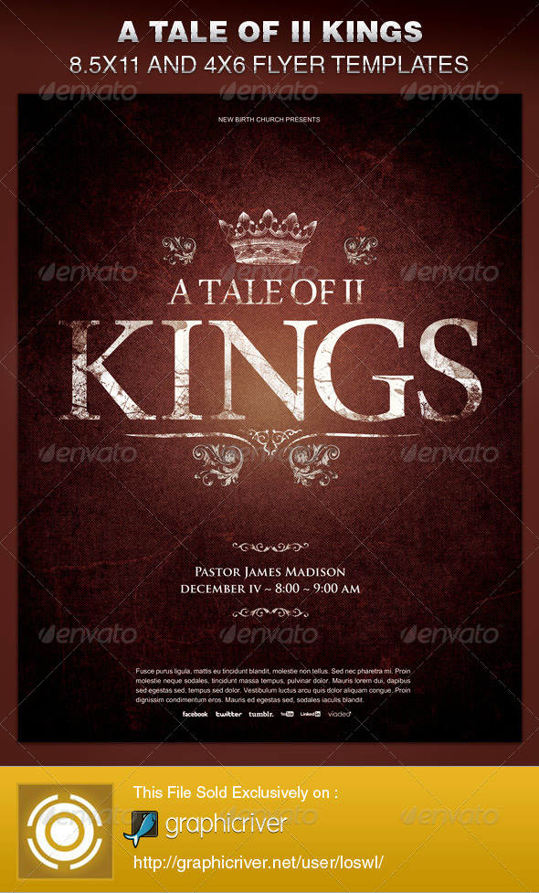 A Tale Of Two Kings Church Flyer Template By Loswl  Graphicriver