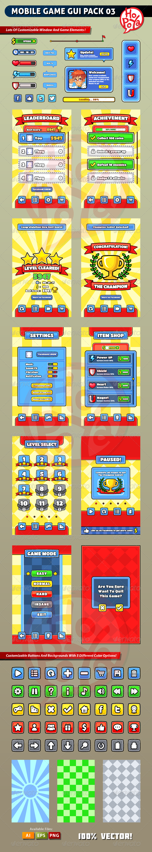 Mobile Game GUI Pack 03 - User Interfaces Game Assets
