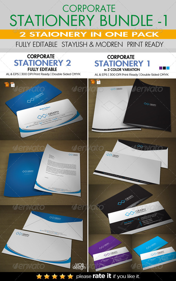 Corporate Stationery Bundle 1 - Stationery Print Templates