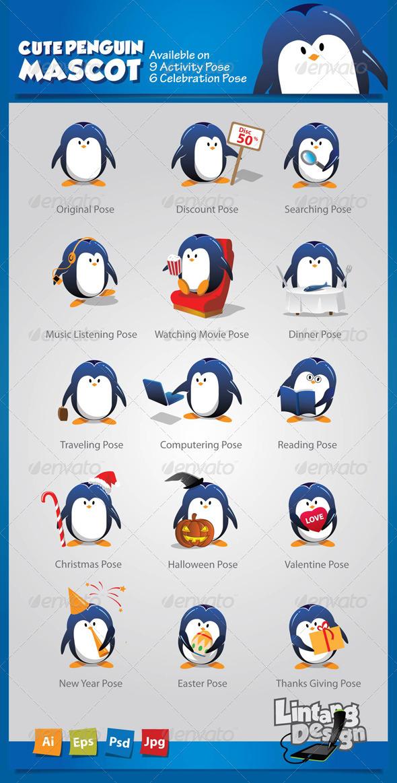 Penguin Mascot-001 - Characters Vectors