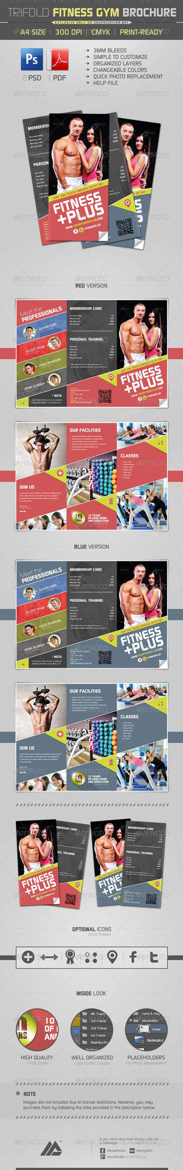 Trifold Fitness Gym Brochure PSD - Informational Brochures