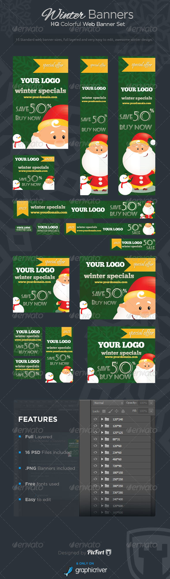 Winter Banners - Winter Specials Banner Set - Banners & Ads Web Elements
