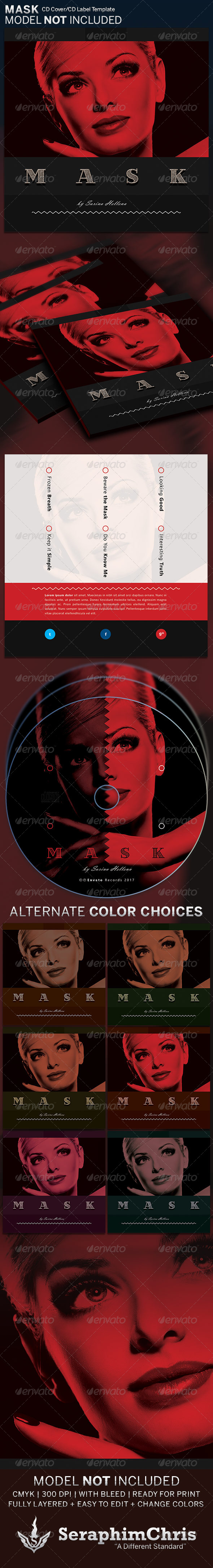 Mask: CD Cover Artwork Template - CD & DVD Artwork Print Templates