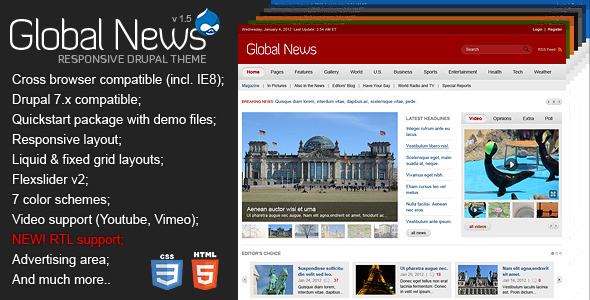 Global News Portal - Responsive Drupal Theme - News / Editorial Blog / Magazine