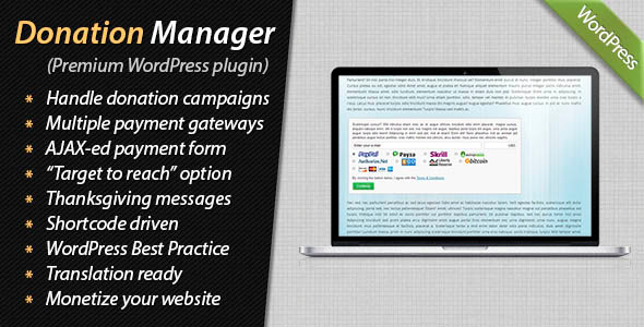 Donation Manager for WordPress - CodeCanyon Item for Sale