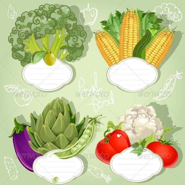 Vegetarian Menu Banners - Food Objects