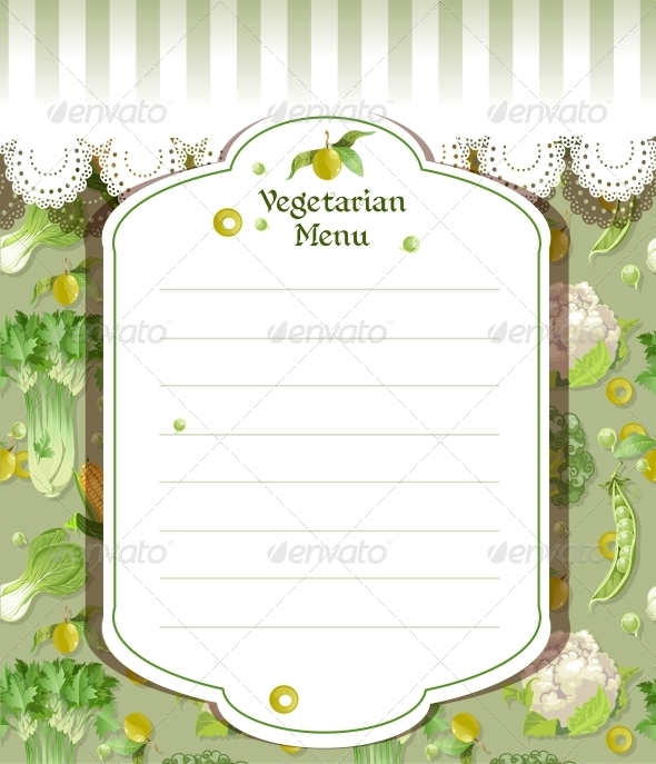 Vegetarian Menu - Food Objects