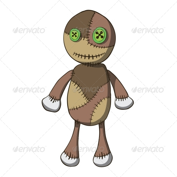 Cartoon Old Rag Doll with Buttons - Man-made Objects Objects