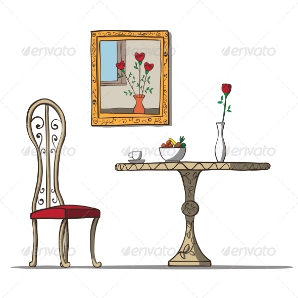 Vintage Interior of Dining Area - Man-made Objects Objects