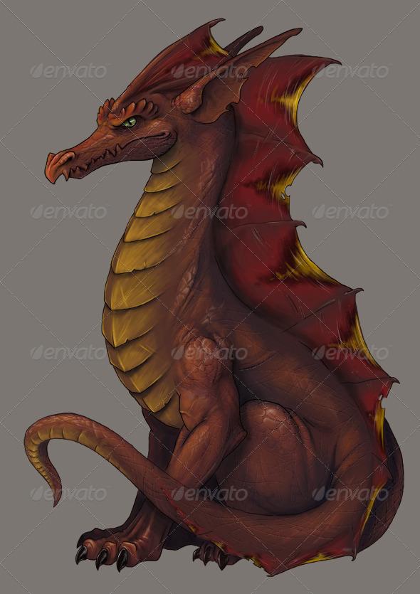 Red Dragon Illustration - Animals Illustrations
