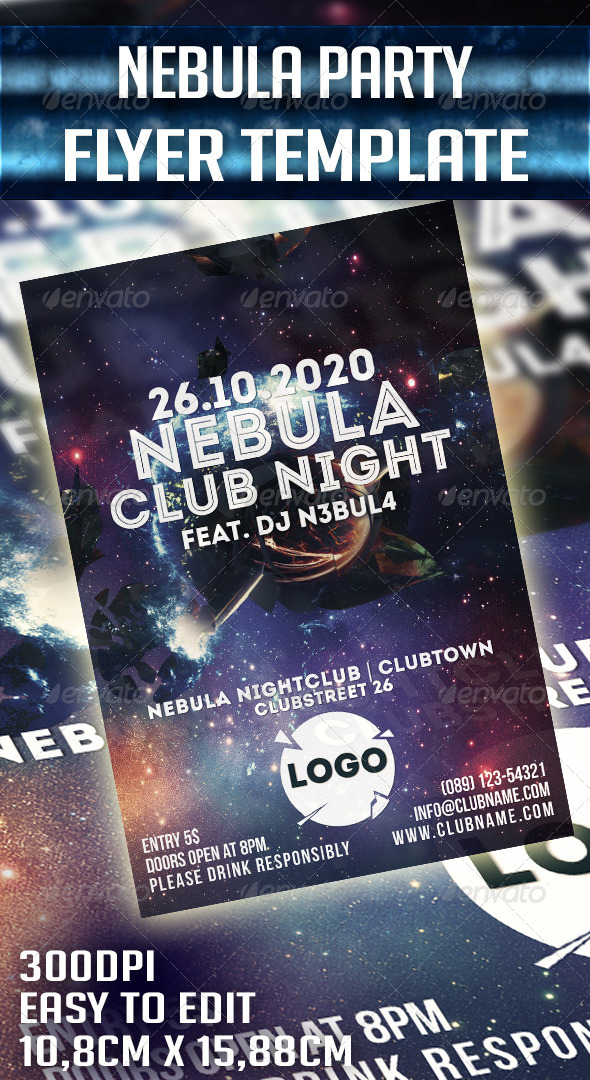 Nebula Party Flyer Template - Clubs & Parties Events