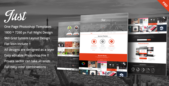 Just  – One Page Web Templates Design