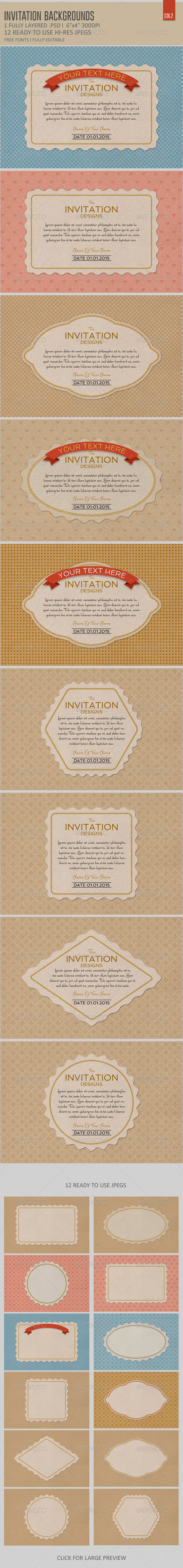 Invitation Card Backgrounds  Col2 - Backgrounds Graphics