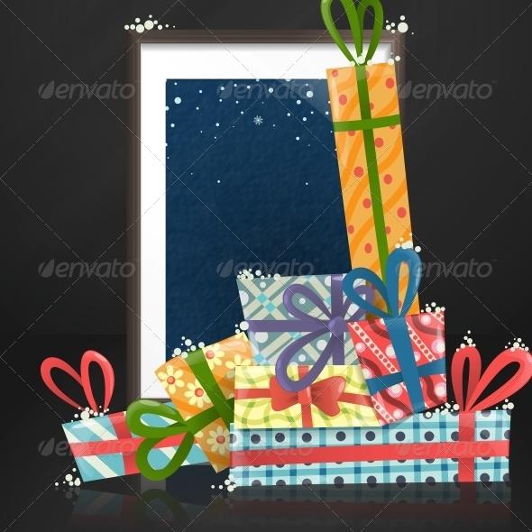 Wood Shelf with Photo Frame - Christmas Seasons/Holidays