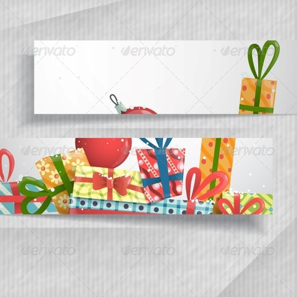 3D Abstract Banners with Place for Text  - Christmas Seasons/Holidays