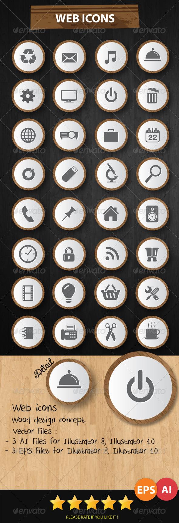 Web Icons Wood Style - Web Icons