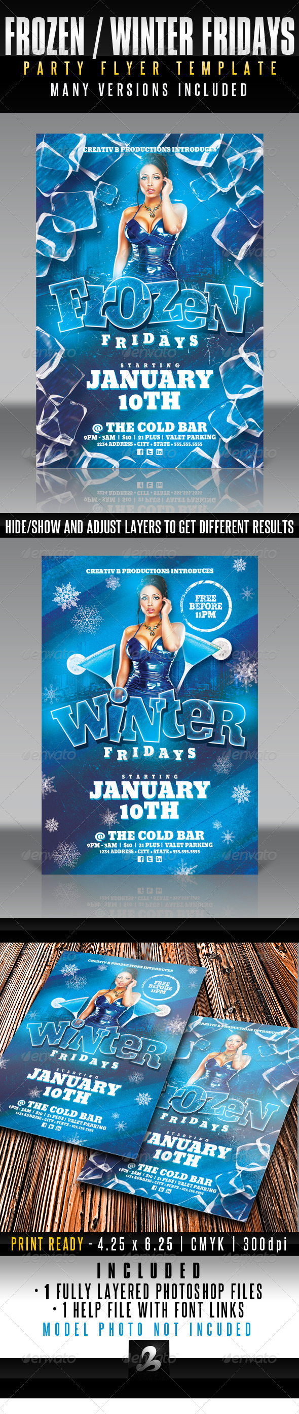 Frozen / Winter Fridays Party Flyer Template - Clubs & Parties Events