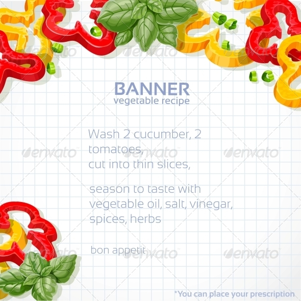 Paper Recipe with Peppers and Basil - Food Objects