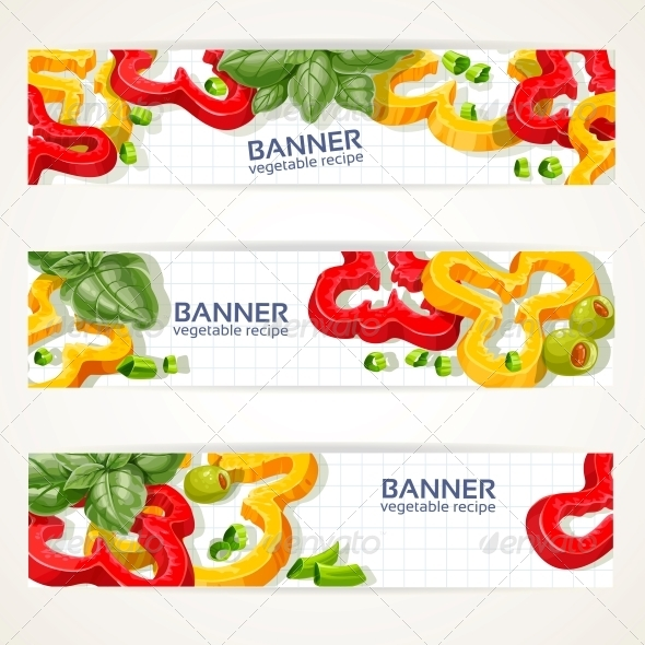 Horizontal Banners with Peppers and Basil - Food Objects