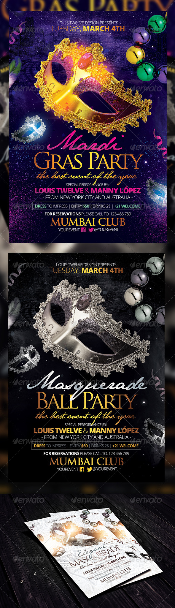 Masquerade Ball / Mardi Gras Party Flyers Template   Clubs U0026 Parties Events  Ball Ticket Template