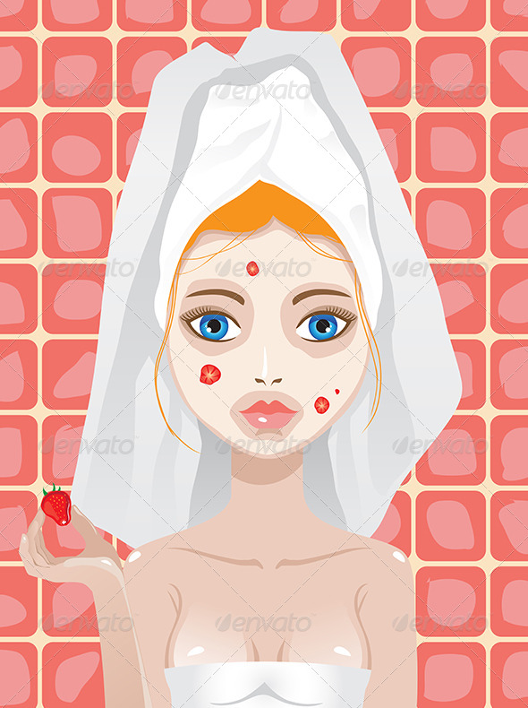 Woman with Strawberry Mask on Her Face - People Characters