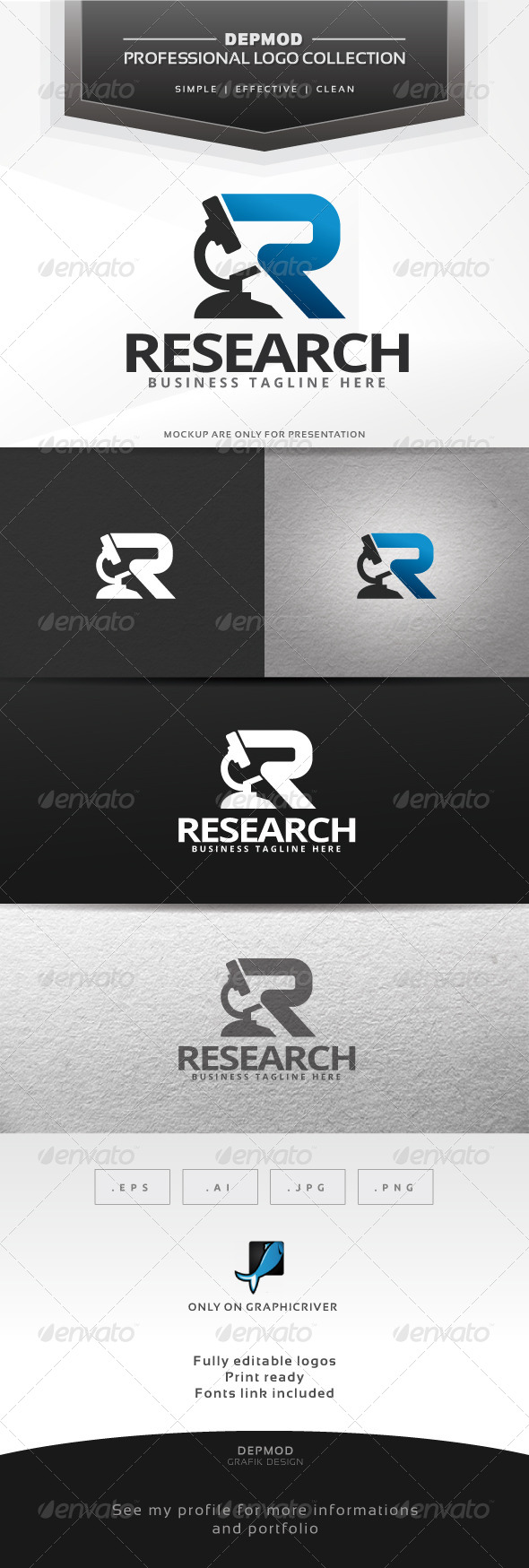 Research Logo - Letters Logo Templates