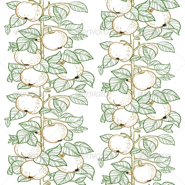 Seamless Pattern of the Branches of the Apple - Food Objects
