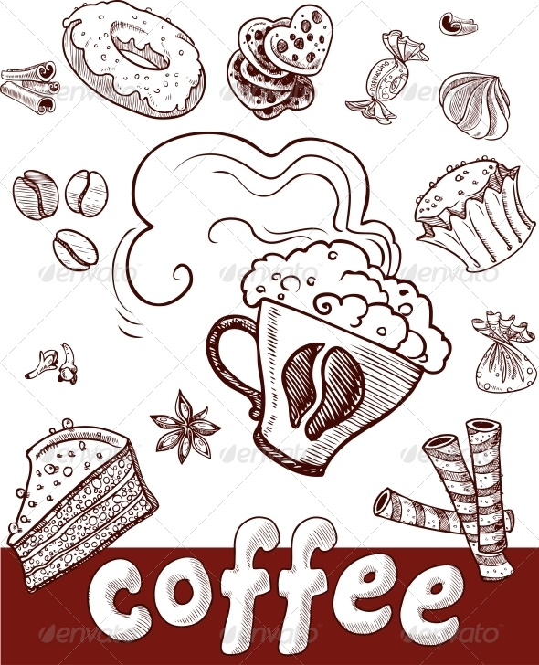 Coffee and Sweets.Handdrawing - Food Objects