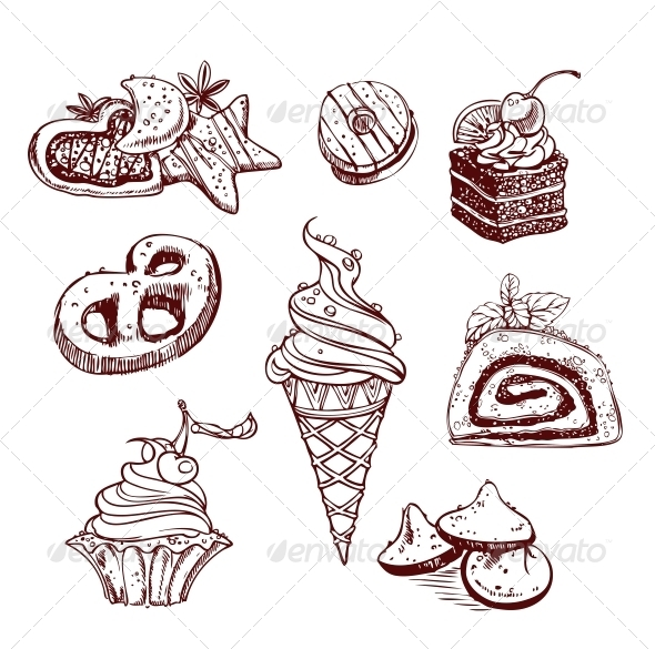 Collection of Sweets in a Decorative Linear Style - Food Objects