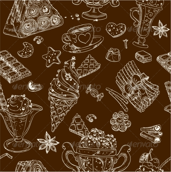 Seamless Pattern of Candy and Ice Cream - Food Objects