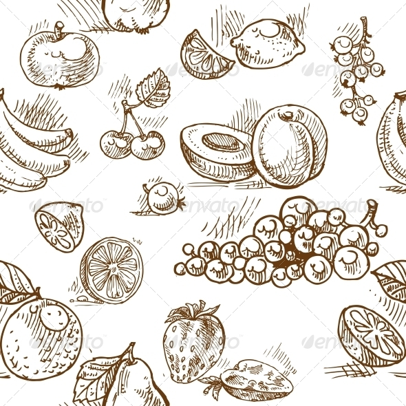 Seamless Pattern of Summer Fruit Doodles