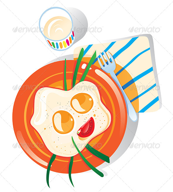 Breakfast Plate of Scrambled Eggs - Food Objects