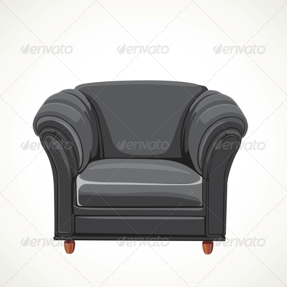 Black Vector Isolated Leather Armchair - Man-made Objects Objects