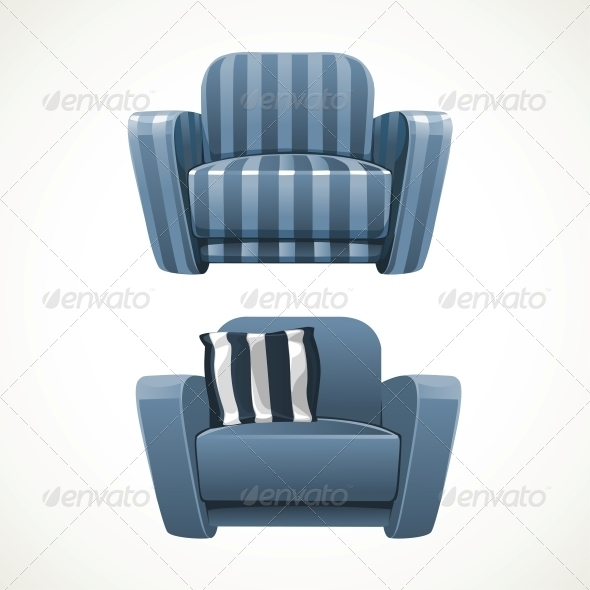 Blue Soft Stripped Armchair - Man-made Objects Objects