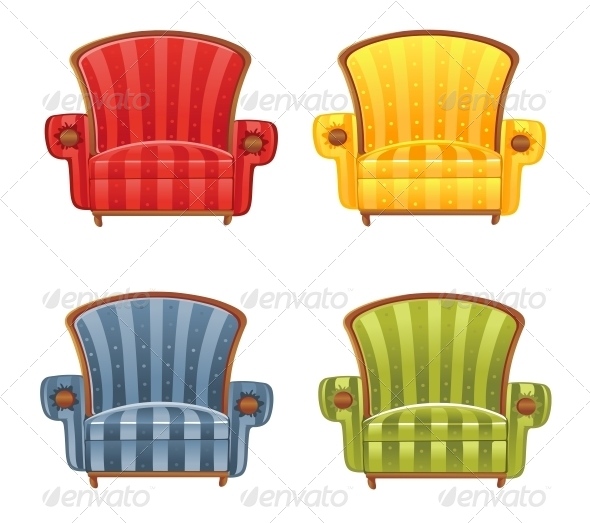 Color Bright Vector Armchair - Man-made Objects Objects