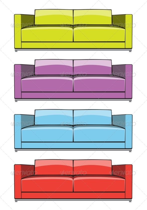 Sofa in Some Color Variations - Man-made Objects Objects