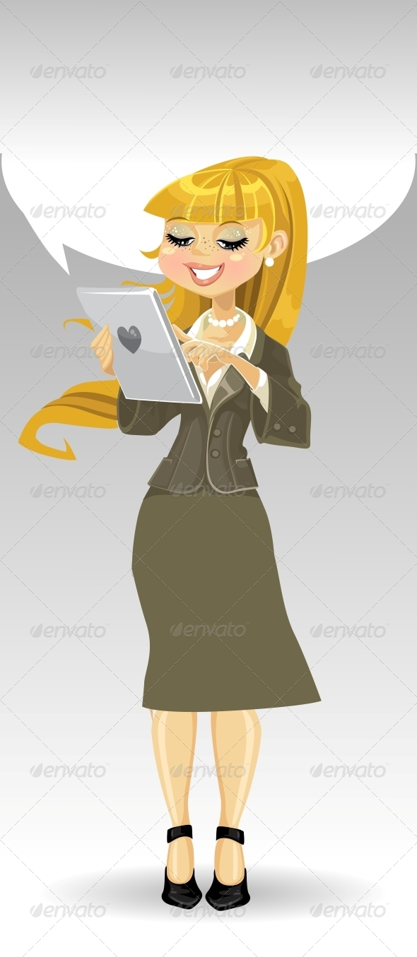 Blond Girl with Tablet Computer and Speech Bubble - People Characters