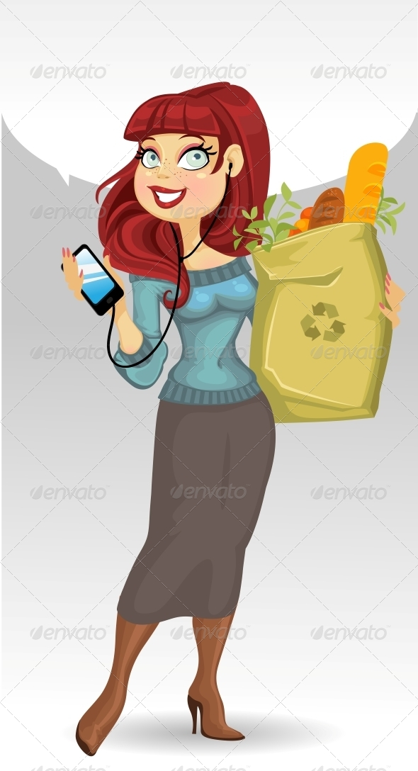 Woman with the Health Food Package - People Characters