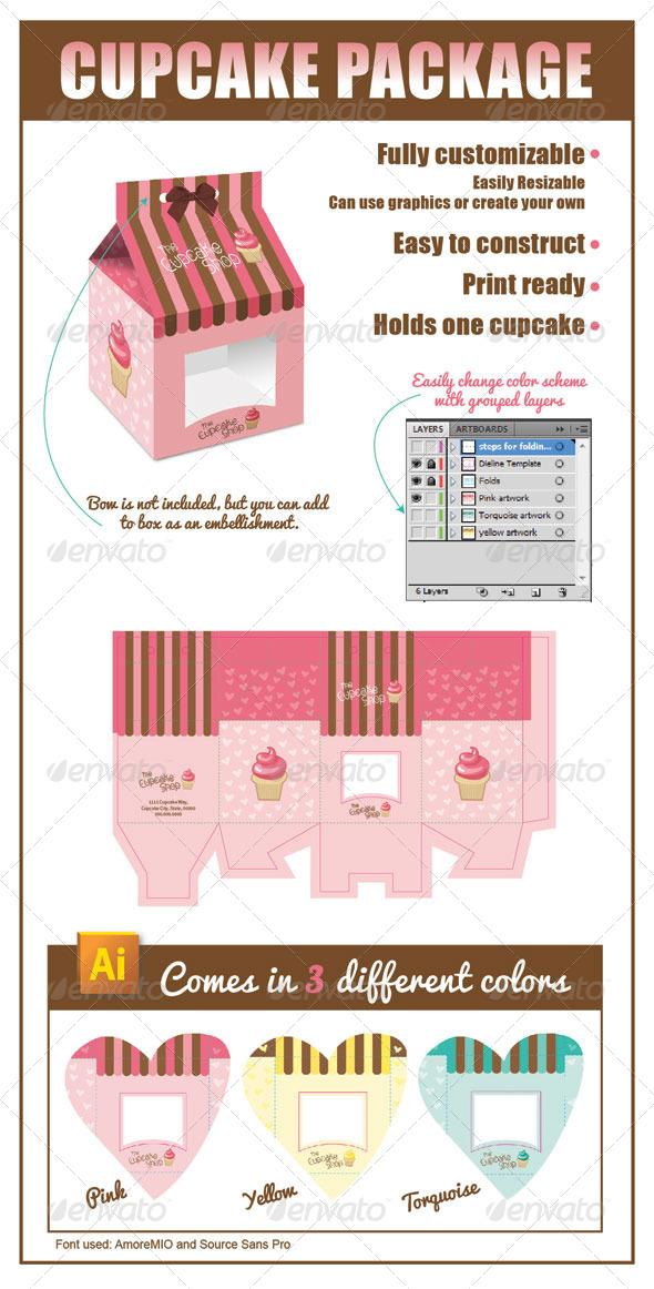 Cupcake Package  - Packaging Print Templates