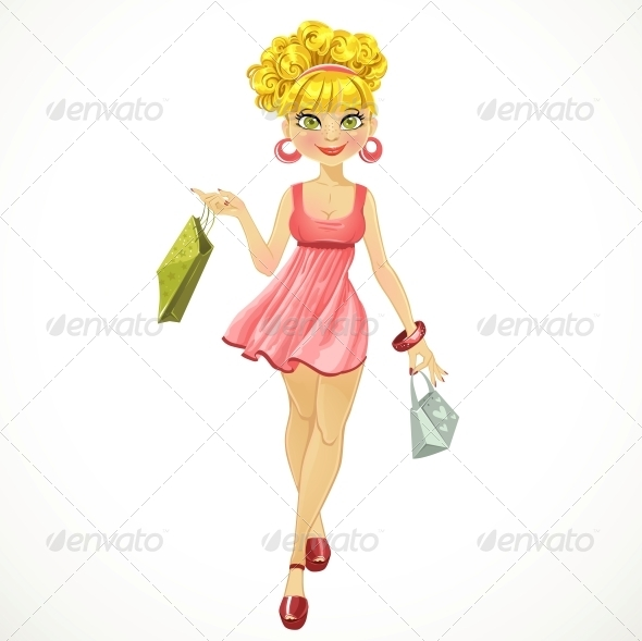 Shopper Woman in a Pink Dress - People Characters
