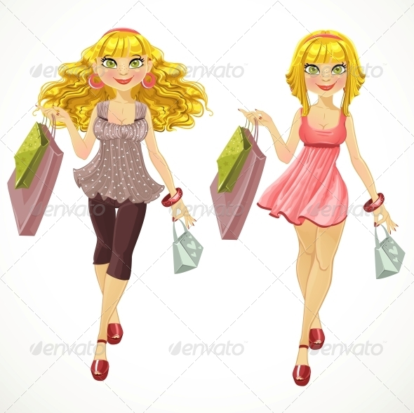 Blond with Shopping Bags - People Characters
