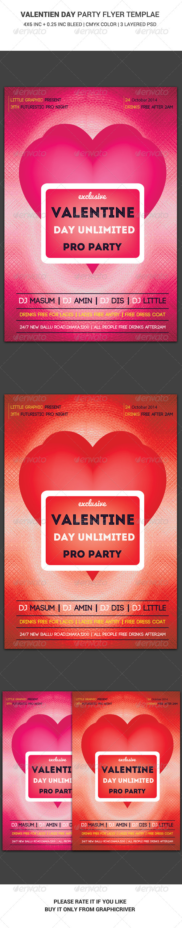 Valentine Day Party Flyer Main File - Clubs & Parties Events