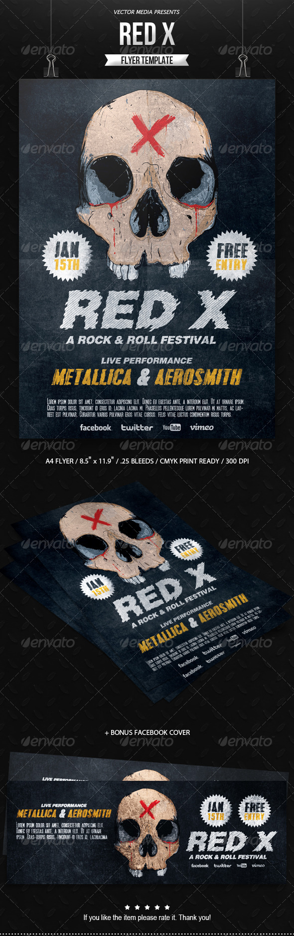 Red X - Flyer - Concerts Events