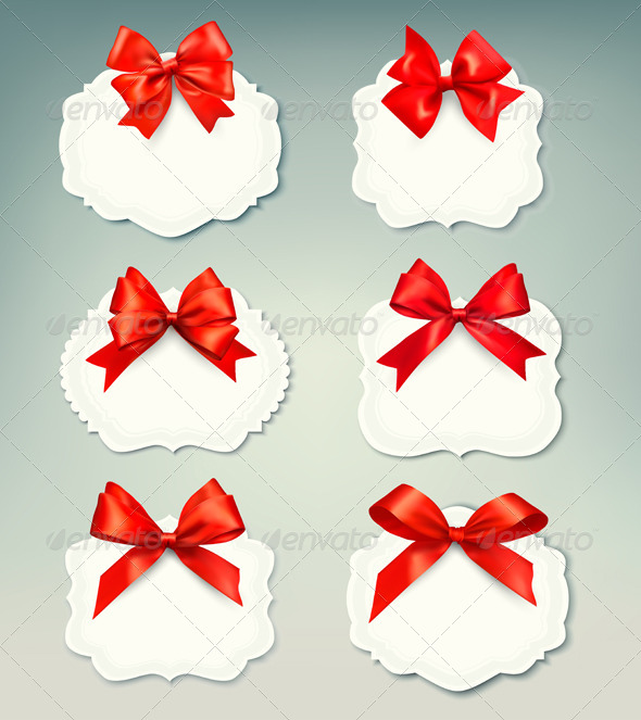 Set of Retro Labels with Red Gift Bows - Seasons/Holidays Conceptual