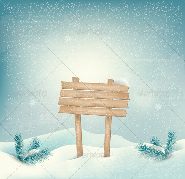 Holiday Winter Background with Wooden Sign - New Year Seasons/Holidays