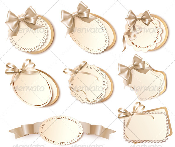 Set of Gift Cards with Bows and Ribbons - Seasons/Holidays Conceptual